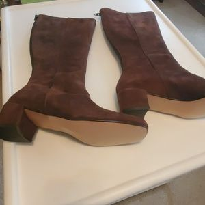 A J VALENCI BROWN SUEDE BOOTS 7 1/2 MED